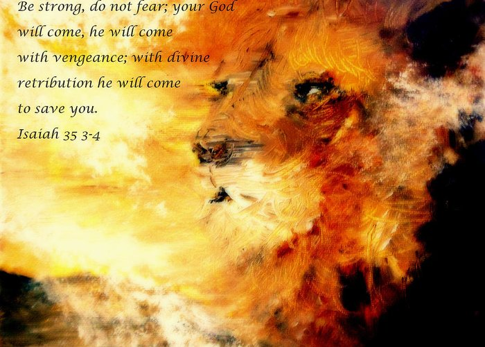 Lion Of Judah Greeting Card featuring the painting Lion Of Judah Courage by Amanda Dinan