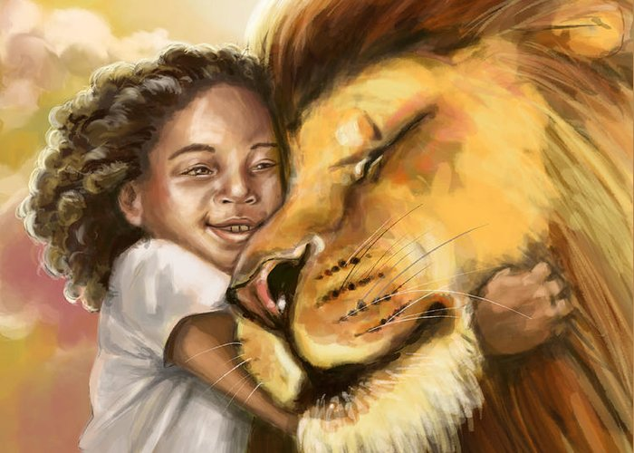Christian Greeting Card featuring the digital art Lion's Kiss by Tamer and Cindy Elsharouni