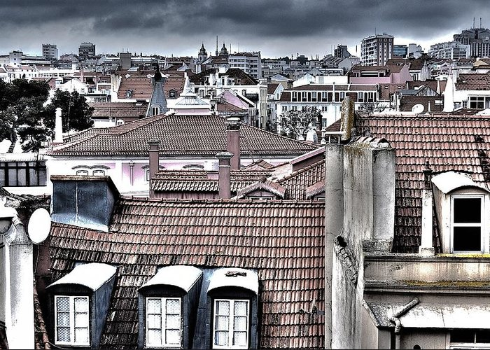 Lisbon Rooftops Greeting Card featuring the photograph Lisbon Rooftops I by Marco Oliveira