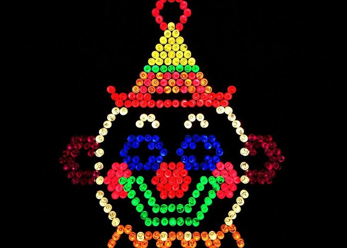 Nostalgia Greeting Card featuring the photograph Lite Brite - The Classic Clown by Benjamin Yeager
