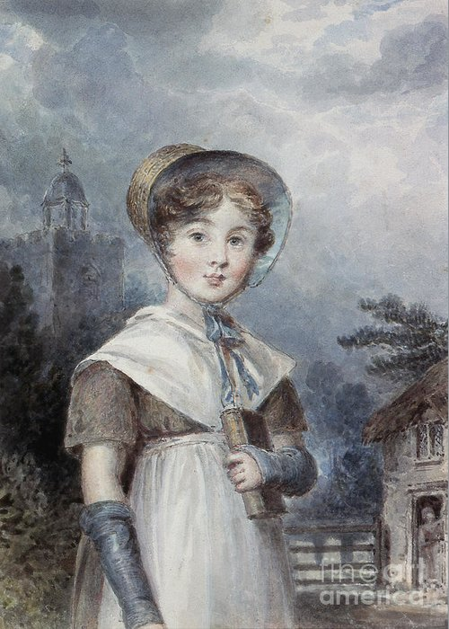 Bonnet Greeting Card featuring the painting Little Girl In A Quaker Costume by Isaac Pocock