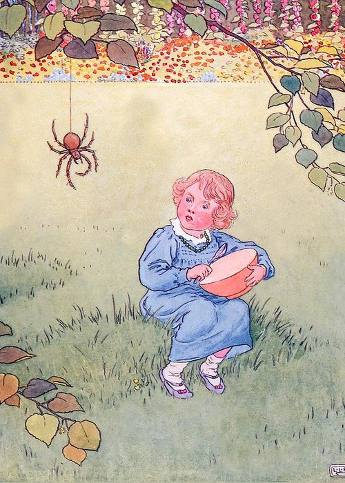 Nursery; Rhyme; Rhymes; Songs; Little Miss Muffet; Spider; Curds; Eating Greeting Card featuring the drawing Little Miss Muffet by Leonard Leslie Brooke
