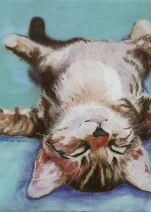 Cat Painting Greeting Card featuring the pastel Little Napper by Pat Saunders-White