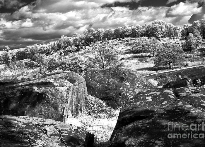 Gettysburg Battlefield Greeting Card featuring the photograph Little Roundtop Overlooking Devils Den by Paul W Faust - Impressions of Light