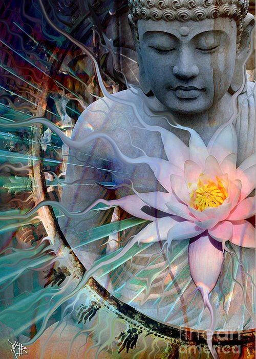 Buddha Greeting Card featuring the painting Living Radiance by Christopher Beikmann