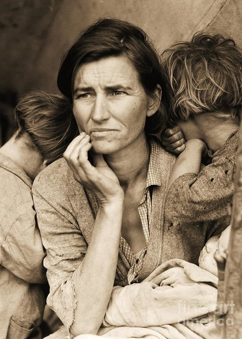 Migrant Mother Greeting Card featuring the photograph Living With Poverty by Pg Reproductions