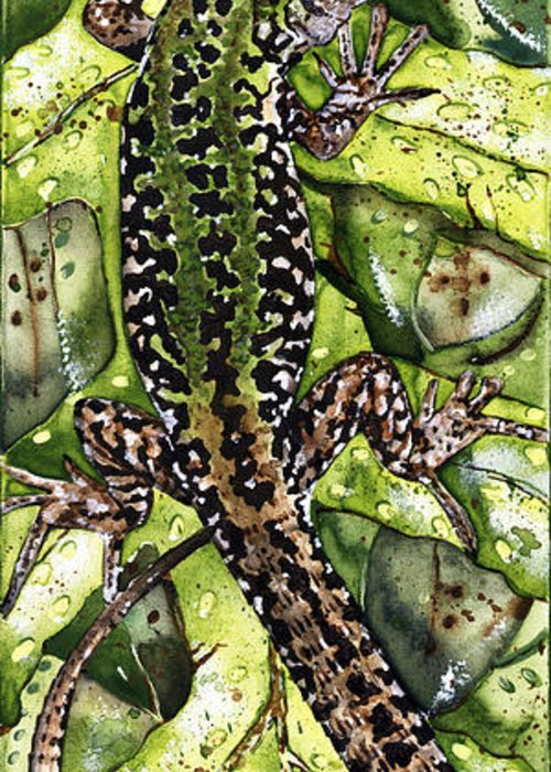 Lizard Greeting Card featuring the painting Lizard In Green Nature - Elena Yakubovich by Elena Yakubovich