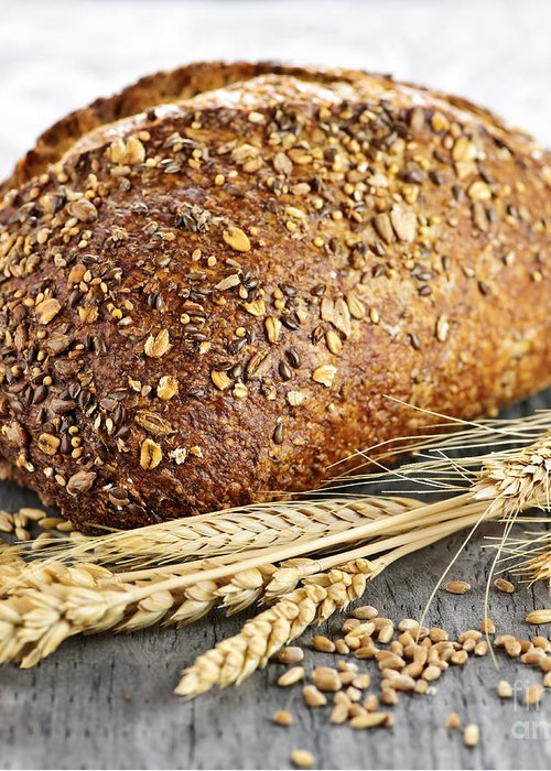 Bread Greeting Card featuring the photograph Loaf Of Multigrain Bread by Elena Elisseeva