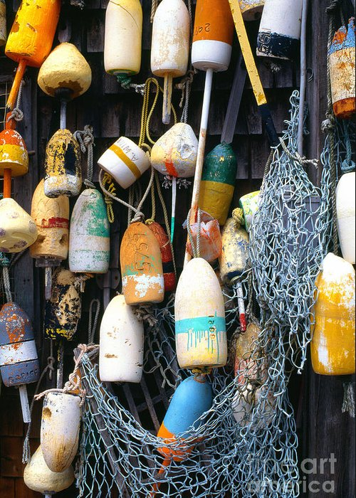 Lobster Buoys Greeting Card featuring the photograph Lobster Buoys Fishermans Shed by Thomas R Fletcher