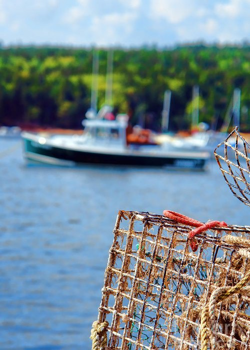 Maine Greeting Card featuring the photograph Lobster Trap In Maine by Olivier Le Queinec