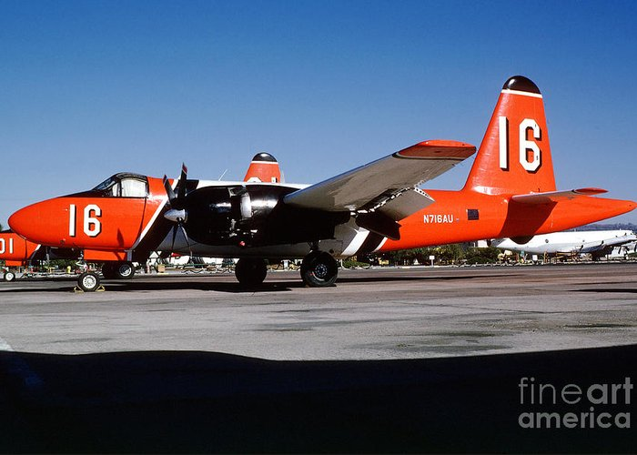 N716au Greeting Card featuring the photograph Lockheed P2v-7 Neptune Firefighting Airtanker N716au by Wernher Krutein
