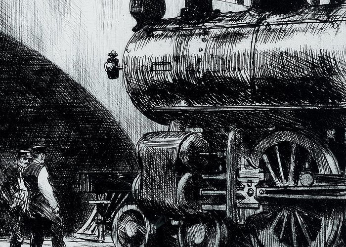 Edward Hopper Greeting Card featuring the painting Locomotive by Edward Hopper