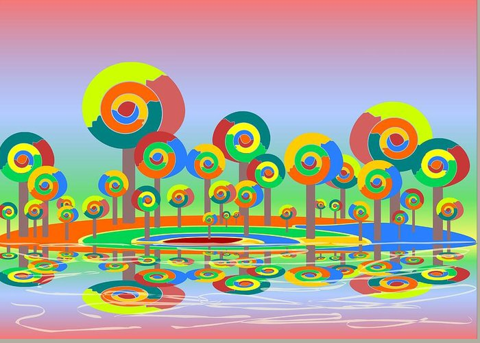 Malakhova Greeting Card featuring the digital art Lollypop Island by Anastasiya Malakhova