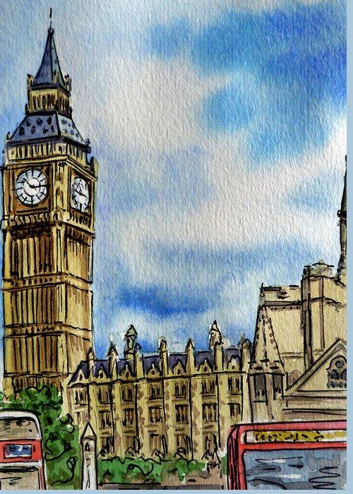 Big Ben Greeting Card featuring the painting London England Big Ben by Irina Sztukowski