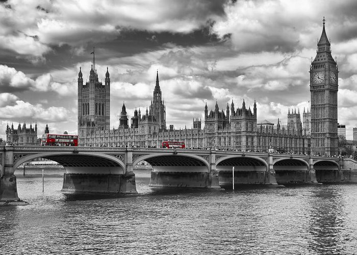 British Greeting Card featuring the photograph London - Houses Of Parliament And Red Buses by Melanie Viola