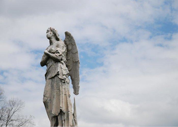 Cemetery Greeting Card featuring the photograph Lonely Angel by Jennifer Ancker