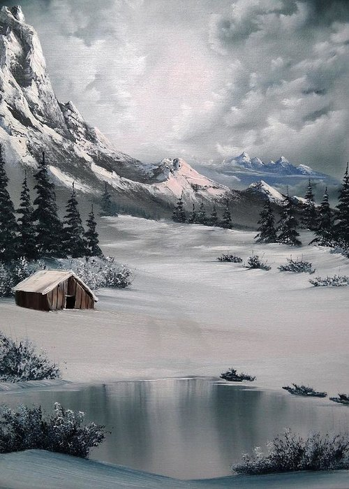 Landscape Greeting Card featuring the painting Lonely Cabin by John Koehler