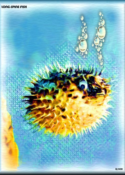 Long-spine Fish Greeting Card featuring the digital art Long-spine Fish by Daniel Janda
