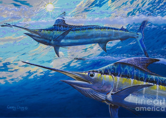 Marlin Greeting Card featuring the painting Lookers Off0019 by Carey Chen