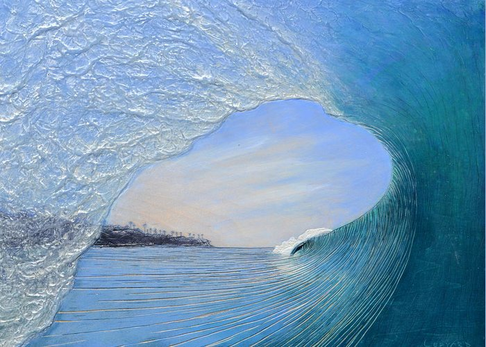 Wave Greeting Card featuring the painting Looking For An Exit by Nathan Ledyard
