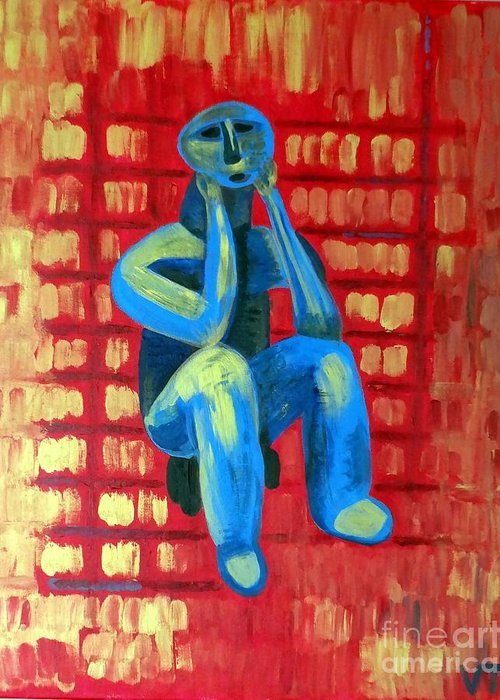 Portrait Greeting Card featuring the painting Lord Of Cucuteni by Vicky Tarcau