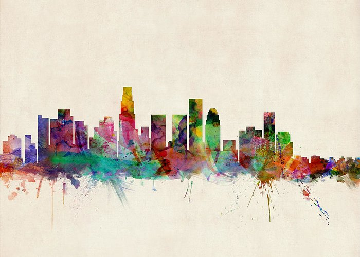 Watercolour Greeting Card featuring the digital art Los Angeles City Skyline by Michael Tompsett