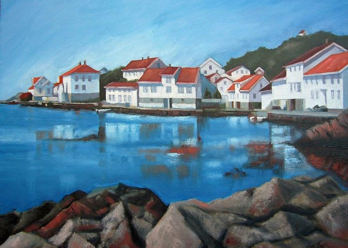 Loshavn Greeting Card featuring the painting Loshavn by Janet King