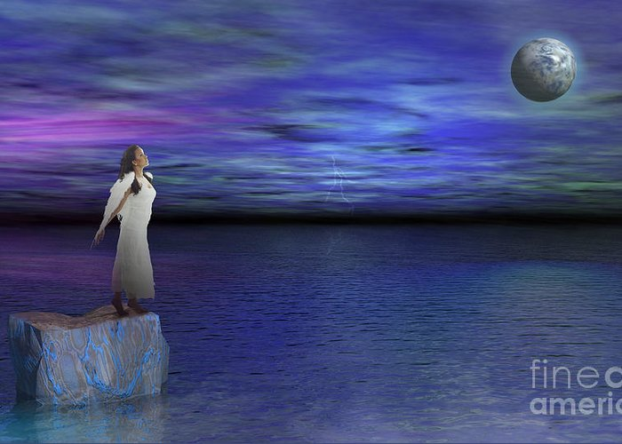 Surreal Art Greeting Card featuring the digital art Lost Angel by Bedros Awak