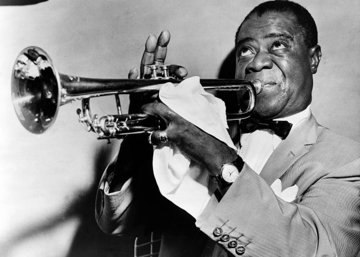 1953 Greeting Card featuring the photograph Louis Armstrong (1900-1971) by Granger