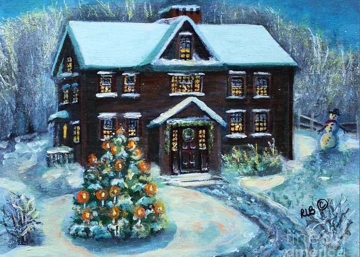Louisa May Alcott Greeting Card featuring the painting Louisa May Alcott's Christmas by Rita Brown