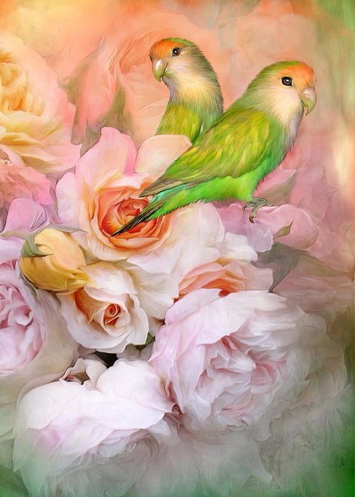Love Birds Greeting Card featuring the mixed media Love Among The Roses by Carol Cavalaris