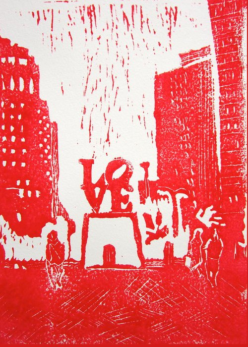 Love Park Greeting Card featuring the painting Love Park In Red by Marita McVeigh