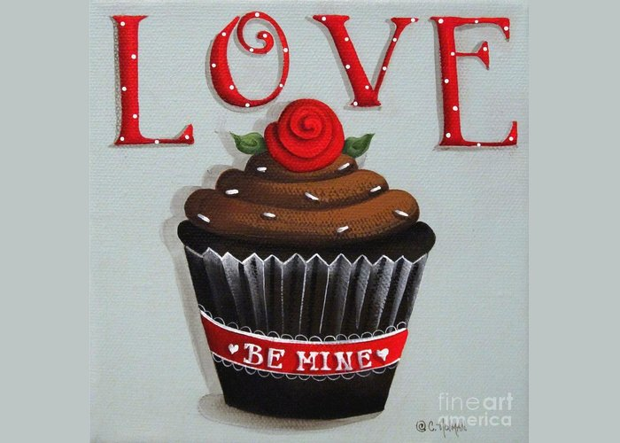 Art Greeting Card featuring the painting Love Valentine Cupcake by Catherine Holman