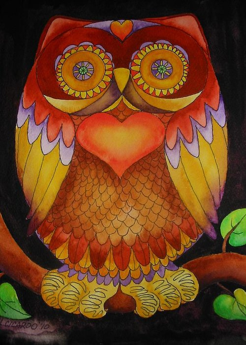 Sweet Greeting Card featuring the painting Loving Owl by Lou Cicardo