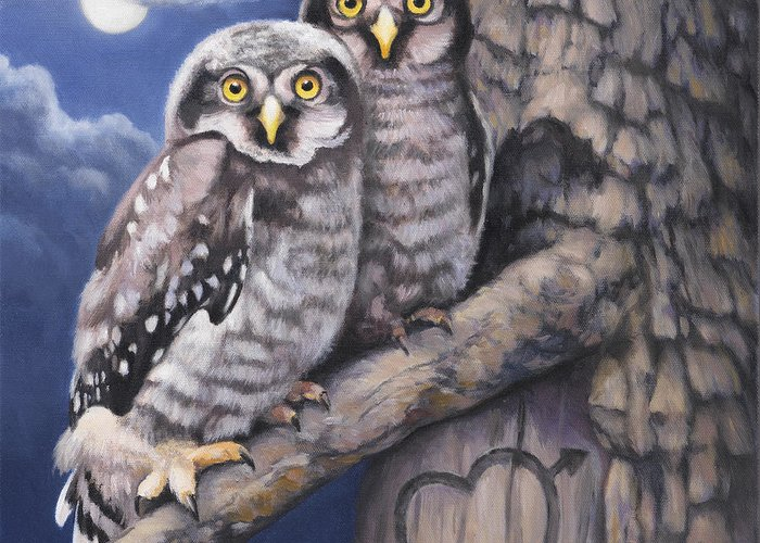 Owl Greeting Card featuring the painting Loving You by John Zaccheo