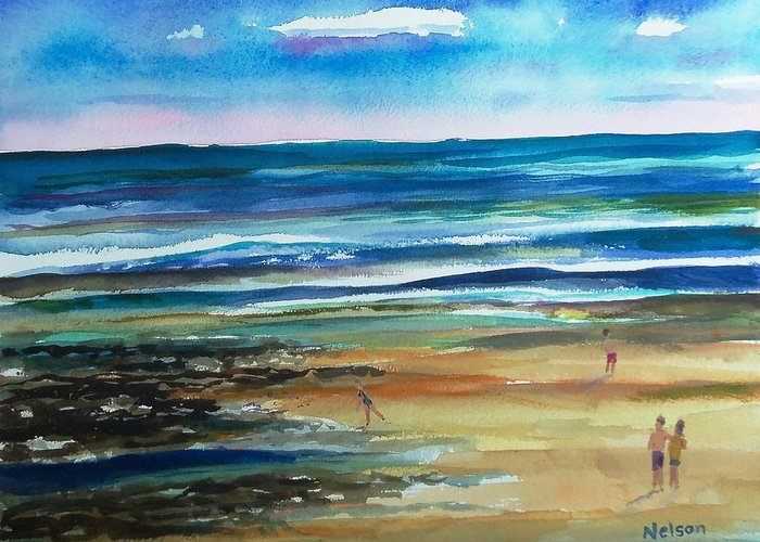 Low Tide Greeting Card featuring the painting Low Tide Wells Beach Maine by Scott Nelson