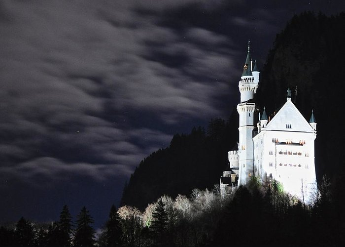 Moonlit Night Greeting Card featuring the photograph Ludwig's Castle At Night by Matt MacMillan
