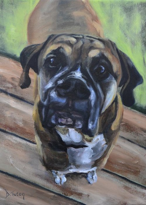 Boxer Greeting Card featuring the painting Lugnut by Donna Tuten