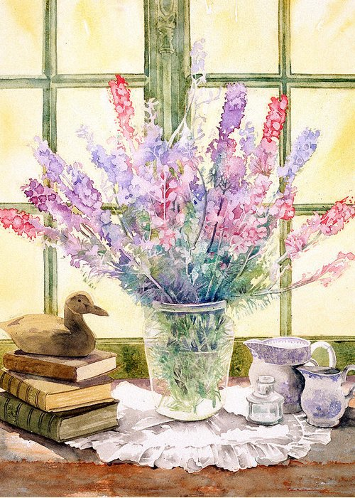 Book Greeting Card featuring the photograph Lupins On Windowsill by Julia Rowntree