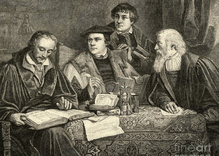 Martin Luther; Excommunicated In 1520; Protestant; Protestantism; Lutheran Church; Revolt; Priest; 16th; Pupils; Pupil; Teacher; Protestants; Male; Portrait; Translators; Translation; Interior; Discussion Greeting Card featuring the drawing Luther Melancthon Pomeranus And Cruciger Translating by English School