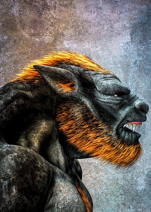 Lycan Greeting Card featuring the digital art Lycan by Bob Orsillo