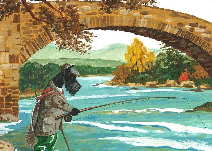 Scottish Terrier Greeting Card featuring the painting Macduff Fishing by Margaryta Yermolayeva