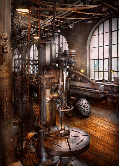 Machinists Greeting Card featuring the photograph Machinist - Industrial Drill Press by Mike Savad