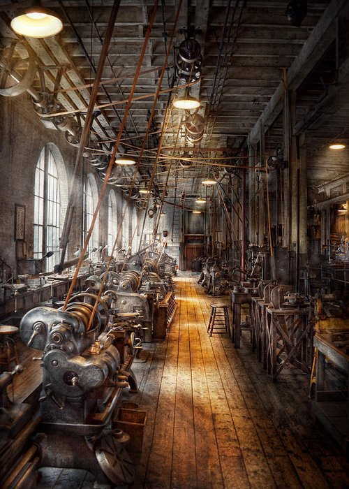Machinists Greeting Card featuring the photograph Machinist - Welcome To The Workshop by Mike Savad