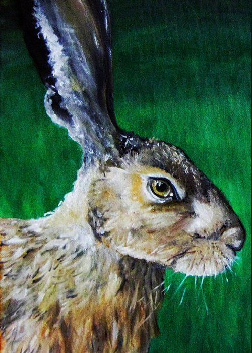 Stacey Greeting Card featuring the painting Mad As A March Hare by Stacey Clarke