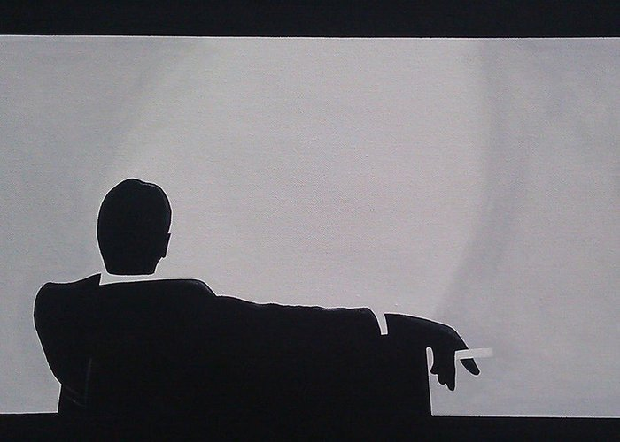 Artist Greeting Card featuring the painting Mad Men In Silhouette by John Lyes
