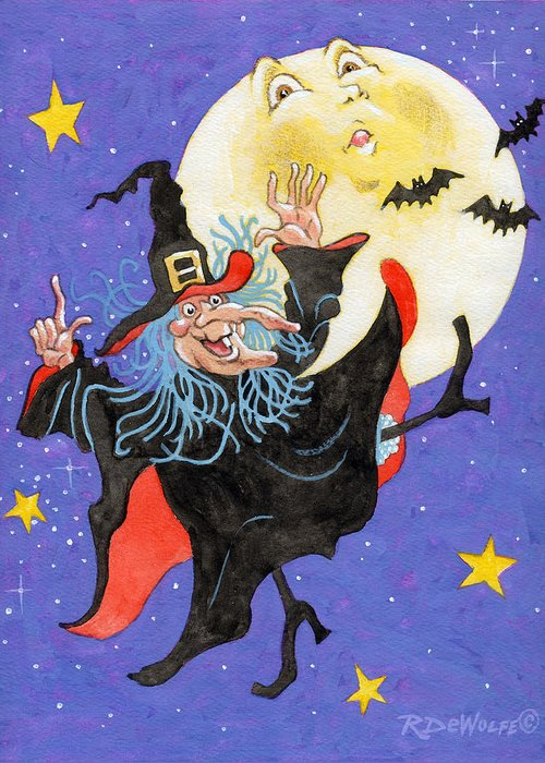 Halloween Greeting Card featuring the painting Mad Millie Moon Dance by Richard De Wolfe