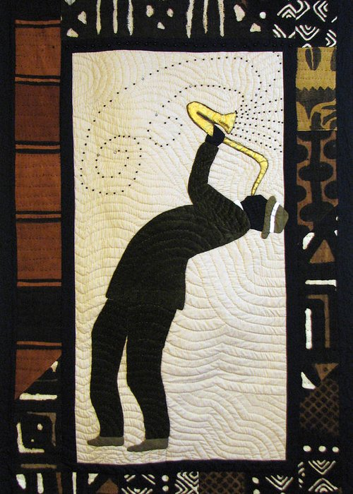 Saxophone Player Greeting Card featuring the tapestry - textile Mad Sax #2 by Aisha Lumumba