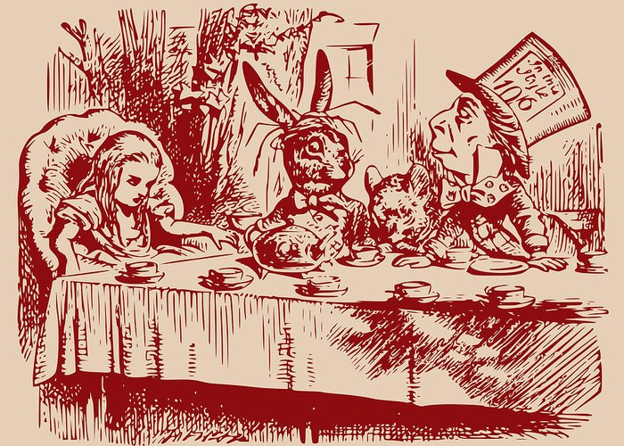 Mad Tea Party Greeting Card featuring the drawing Mad Tea Party by