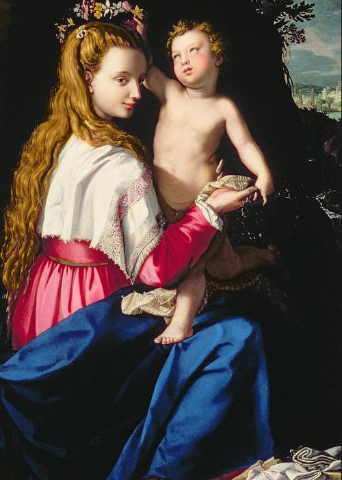 Renaissance Greeting Card featuring the painting Madonna And Child by Alessandro Allori